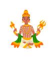 indra indian god thunder lightning and war vector image