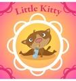 little kitten with babottle in circle frame vector image vector image