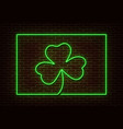 neon green shamrock with frame sign isolate vector image vector image