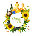 olive sunflower corn and coconut oil label vector image vector image