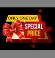 only one day special price on sale promotion vector image vector image