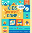 poster for the kids summer camp vector image vector image