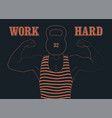 retro gym vintage poster with strong man vector image
