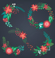 set christmas floral wreaths with winter vector image vector image
