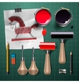 Set of tools and supplies for engraving vector image