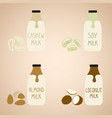 set of vegan milk in a cartoon bottles soy vector image