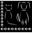 Silhouette cat dog footprints vector image vector image