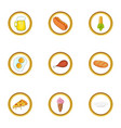 snacks icons set cartoon style vector image vector image
