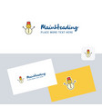 snowman logotype with business card template vector image vector image