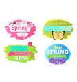 spring big sale discounts 50 posters set labels vector image vector image
