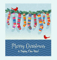 string colorful patterned christmas stockings vector image vector image