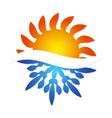 Sun and snowflake symbol air conditioning vector image vector image