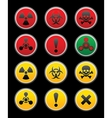 symbols of hazard black background vector image vector image