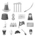 turkey country monochrome icons in set collection vector image vector image
