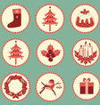 Vintage Christmas symbols isolated for design vector image