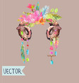 watercolor beautiful floral design with horns vector image