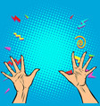 woman hands fingers high five vector image vector image
