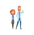 young man and woman scientists in white lab coats vector image vector image