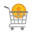 shopping cart online coin dollar vector image