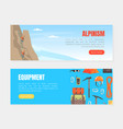 alpinism equipment landing page templates set vector image vector image