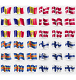 Andorra Denmark Aland Finland Set of 36 flags of vector image vector image