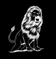 angry leaping lion in black vector image vector image