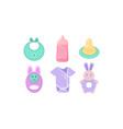 baby care icons set baby bib bottle nipple vector image