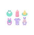 bacare icons set babib bottle nipple vector image