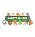 back to school animal banner animals with books vector image vector image