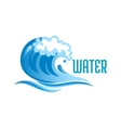Blue ocean wave with foam bubbles vector image vector image