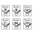 butcher shop emblems set vector image vector image