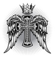 christian cross wing crown drawing blak vector image
