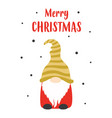 christmas card with cute gnome isolated on white vector image