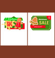 christmas sale gingerbread woman and bell cookies vector image vector image