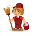 Cleaning boy vector image vector image