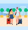 couple with luggage walking from airport vector image vector image
