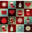 Cozy Christmas pattern in patchwork vector image vector image