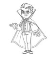 cute boy in vampire costume outlined for coloring vector image vector image