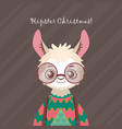cute hipster llama in ugly christmas sweater vector image