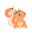 cute squirrel animal wearing indian traditional vector image vector image