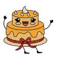 delicious cake celebration kawaii character vector image