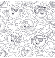 doodle seamless pattern with sun vector image