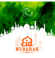 eid mubarak happy eid greetings with mosque vector image vector image