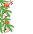 fir branch and red Christmas balls vector image