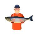 fisherman showing fish vector image vector image
