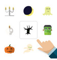 flat icon halloween set of cranium candlestick vector image vector image