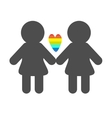 Gay marriage Pride symbol Two woman silhouette vector image vector image