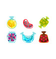 glossy candies of different shapes user interface vector image vector image