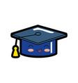 graduation cap cartoon smiley vector image