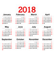 great new wall calendar 2018 vector image vector image